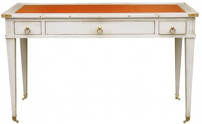 566 B White Lacquered Beech Orange Leather